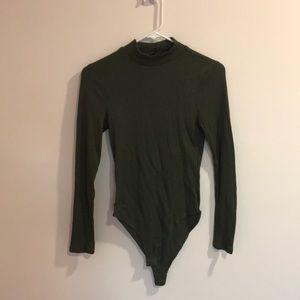 Forever21 Green Ribbed Long Sleeve Bodysuit